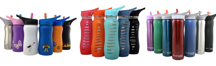 Eco Vessel Water Bottle with Sporty Silicone Sleeve and New Designer Top!